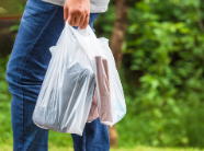 person carrying full plastic bags